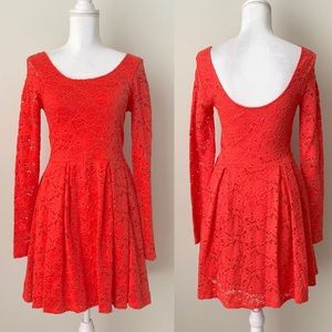 Free People orange lace mini dress